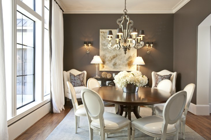 Dodson and Daughter Interior Design - dining rooms - chic, elegant, French, white, leather, Louis, dining chairs, walnut, round, dining table, white, curtains, brown, silk, ribbon trim, white, wingback, chairs, Restoration Hardware, glass, column, lamps, brown, purple, pillows,