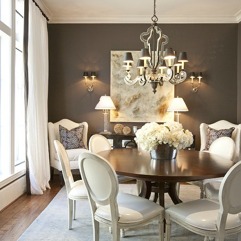 Dodson and Daughter Interior Design - dining rooms - round back dining chairs, french dining chairs, leather round back dining chairs, round dining table,