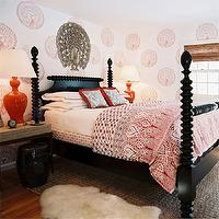 Tilton Fenwick - bedrooms - blue, ikat, pillows, red, fringe, black, rope, poster, bed, glossy, black, garden stool, red, glossy, lamps, white, hotel bedding, red stitching, red, medallion, wall stencils, silver, peacock, seagrass, rug,