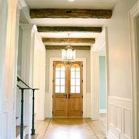Tiek Built Homes - entrances/foyers - wood, chevron, herringbone, wood floor, rustic, wood beams, gray, walls, wainscoting,  Beautiful foyer