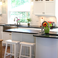 Tiek Built Homes - kitchens - white shaker cabinets, white shaker kitchen cabinets, honed black countertops, sawhorse stools, white sawhorse stools, white kitchen cabinets with black countertops, white kitchen cabinets with black honed countertops,