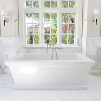 Ambiance Interiors - bathrooms - marble herringbone floor, marble herringbone tile, his and her pedestal sinks, soaking tub, bathtub under window, Kohler Kallista Tub,