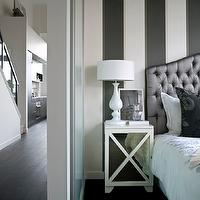 The Cross Decor & Design - bedrooms - white, charcoal, gray, striped, walls, pewter, gray, silk, tufted, headboard, white, milk glass, lamp, white, mirrored, nightstand, chest, black, silk, damask, pillow, mirror nightstands, mirrored nightstands, mirrored bedside tables, white mirror nightstands, white mirrored nightstands, Oly Studio Robert Bedside Table,