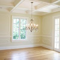 Tiek Built Homes - dining rooms - coffered ceiling, French doors, decorative, wall moldings, chair rail, butter, yellow, paint, oak, floors,