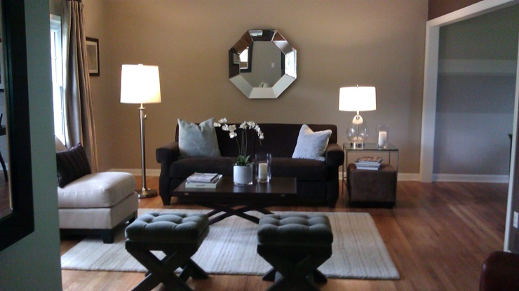 Octagon Mirror Transitional Living Room Sherwin Williams Balanced Beige