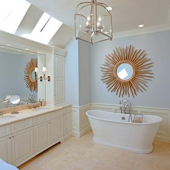 Gilday Renovations - bathrooms - Bain Ultra tub, Greenfield cabinets, Visual comfort light, starburst mirror, Limestone floor, mirror over bathtub, mirror above bathtub, bathroom skylight, limestone tiles, limestone tiled floor, Sandy Chapman Arch Top Lantern,