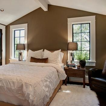 Urrutia Design - bedrooms - Flokati, Sheepskin Rug, French Windows, Chrome Table Lamps, Black Leather Club Chair, Black Door, Black Doors, Vaulted Ceiling, French Window, Ranch House, Ranch Home, California Ranch, Bedroom, Bedrooms,