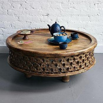 Tables - Carved Wood Coffee Table | west elm - round, carved wood, table
