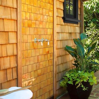 Urrutia Design - decks/patios - Outdoor Shower, Exterior Shower, Rain Shower, Rain Shower Head, Heath Subway Tile, Shake, Shake Siding, Cedar Shake, Cedar Shingle, Red Cedar, Western Red Cedar, Redwood Board and Batten, Redwood Siding, French Window, Copper Gutter and Downspout, Ceramic Pot, Potted Plant, Brick, Chrome Hardware, Redwood Stump, Redwood Cube, Modern Urban Farm House, Japanese Siding, Ranch House, Ranch Home, California Ranch, outdoor shower,
