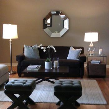 living rooms - Sherwin Williams Balanced Beige, chocolate brown sofa, gray x-base stools, octagon mirror,  Barbara Barry inspired living room