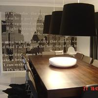 dining rooms - timber table, pendant lights, wallpaper, Restoration Hardware Barrel Shade Pendant Black Linen,  my dining room with wallpaper