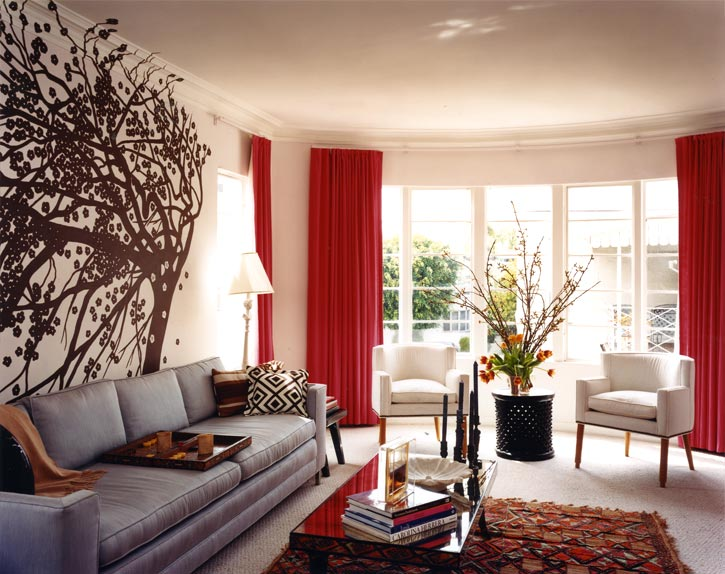 Red Velvet Curtains - Contemporary - living room