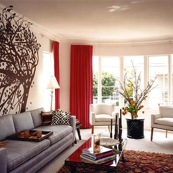 living rooms - Pewter Sofa, Red Velvet Drapes, red velvet curtains,  Molly Luetkemeyer