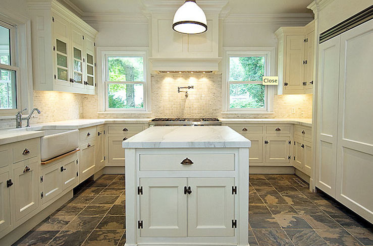 Bakes and Company - kitchens - creamy, white, kitchen, cabinets, kitchen island, calcutta, marble, countertops, farmhouse sink, pot filler, champagne, glass tiles, backsplash, slate, tiles, floor,