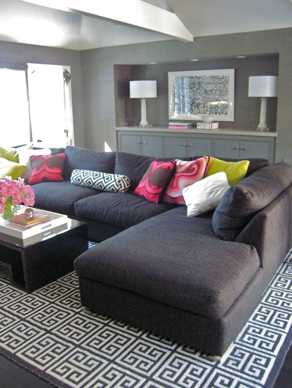 Zoldan Interiors - living rooms - David Hicks La Florentina, Jonathan Adler Greek Key Rug, charcoal, gray, sectional, sofa, chaise lounge, charcoal gray, walls, glossy, black, modern, coffee table, gray, cabinets, david Hicks, La Fiorentina, bolster, pillow, hot pink, pillows, white, lacquer, tray, david hicks rug, geometric rug, hex rug, hexagon rug, hexagonal rug, david hicks hex rug, david hicks hexagon rug, david hicks hexagonal rug, david hicks geometric rug, gray sofa, gray sectional sofa,