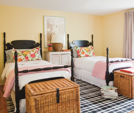 girl's rooms - Yellow wicker black white rug twin beds  Michael Penny  Guest Bedroom
