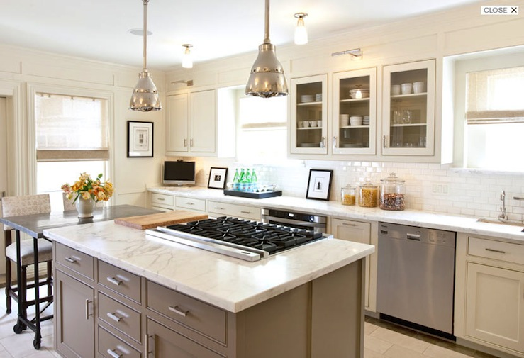 Taupe Kitchen Island, Transitional, kitchen, Courtney Hill Interiors