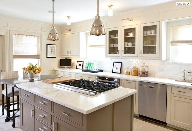 Taupe Kitchen Island, Transitional, kitchen, Courtney Hill Interiors