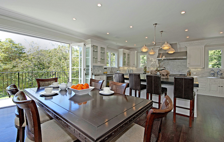 Open Plan Kitchen Transitional Dining Room