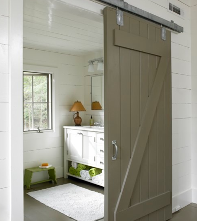 C Designs - bathrooms - gray barn door, bathroom barn door, barn door on bathroom, interior barn door, indoor barn door,  Fun powder room design