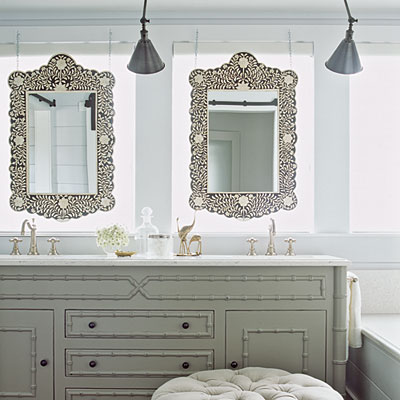Double Bathroom Vanity on Bone Flower Mirror  Faux Bamboo  Gray  Green  Double  Bathroom Vanity