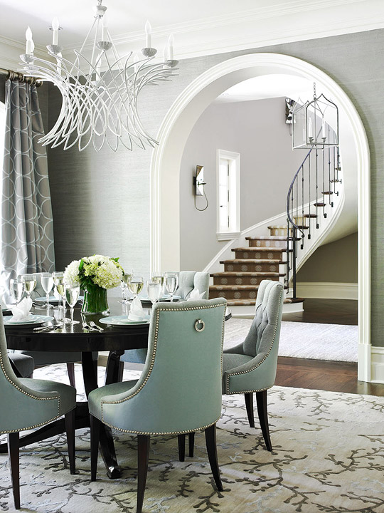 gorgeous dining room design with gray grasscloth wallpaper white wire