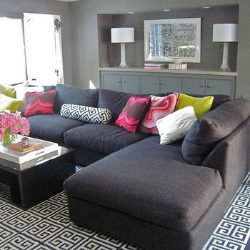 Gray Sectional Sofa, Contemporary, living room, Zoldan Interiors