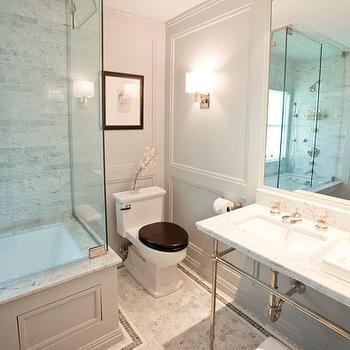 Courtney Hill Interiors - bathrooms - gray wall panels, paneled bathroom, gray paneled walls, gray paneled bathroom, gray wall panels, extra wide single marble washstand, border tiles, border floor tiles, marble border tiles,