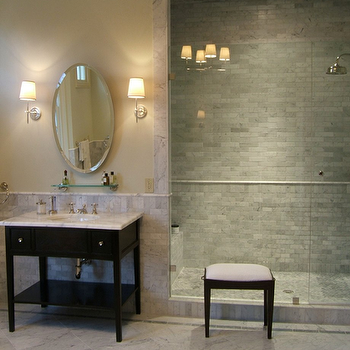 C Designs - bathrooms - carrera marble shower surround, shower surround, shower surround ideas, shower surround design, marble shower surround ideas, marble shower ideas, Bryant Sconce, Bryant Chandelier,