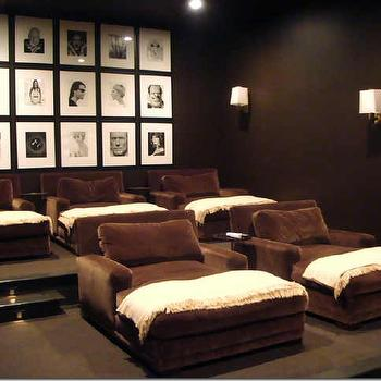 Melanie Turner Interiors - media rooms - movie room, basement movie room, movie room ideas, brown chaise lounge, brown velvet chaise lounge, chocolate brown chaise lounge,