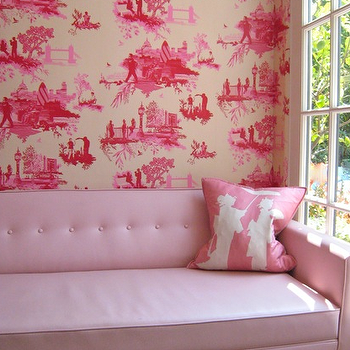 Zoldan Interiors - girl's rooms - pink sofa, pink tufted sofa, pink chinoiserie pillow, geisha pillow, pink geisha pillow, toile wallpaper, pink toile wallpaper, pink room,