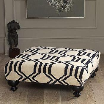 Seating - Essex Dhurrie Ottoman-Geo | west elm - Essex, Dhurrie, Ottoman-Geo