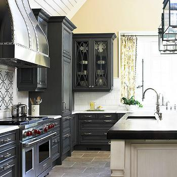 Traditional Home - kitchens - gray kitchen cabinets, gray kitchens, gray cabinets, charcoal gray kitchen cabinets, charcoal gray kitchens, charcoal gray cabinets, gray painted kitchen cabinets, two tone kitchen, dark gray cabinets, dark gray kitchen  cabinets, hand painted kitchen island,