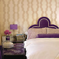 Zoldan Interiors - bedrooms - mirror nightstands, mirrored nightstands, mirrored bedside tables, purple bedroom, purple headboard, purple velvet headboard, purple pillow, purple velvet pillow, purple bolster pillow, purple velvet bolster pillow, purple rug, aubergine rug, madeline weinrib rug, Madeline Weinrib Atelier Aubergine Mandala Rug,