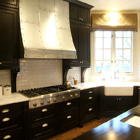 C Designs - kitchens - espresso, stained, kitchen cabinets, calcutta gold, marble, countertops, iron, studded, kitchen hood, glossy, beveled, subway tiles, backsplash, espresso, kitchen island, butcher block, countertop, farmhouse sink,