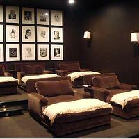Melanie Turner Interiors - media rooms - black, white, photo gallery, dark chocolate, walls, chocolate, brown, velvet, chaise, lounges, ivory, throws, black, white, photo gallery,
