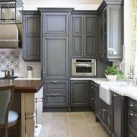 Traditional Home - kitchens - gray kitchen cabinets, gray kitchens, gray cabinets, charcoal gray kitchen cabinets, charcoal gray kitchens, charcoal gray cabinets, gray painted kitchen cabinets, two tone kitchen, Chisholm Hall Lantern,