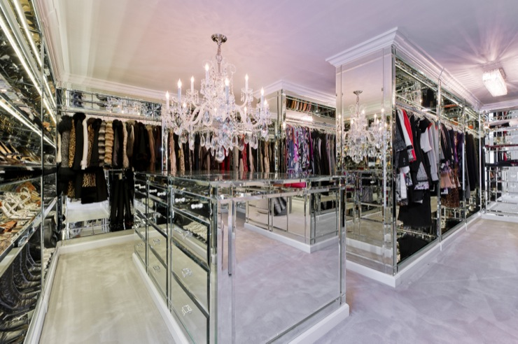 closets - mirrored dressers, Mirrored closet, mirrored vanity, mirrored vanity, crystal chandelier, mirror closet island, mirrored closet island, mirrored closet shelves, mirrored shoe shelves, mirrored shelves for shoes, mirrored cabinets, mirrored closet, glam closet, glamorous closet,
