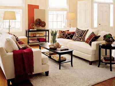 brown living room with red accents
