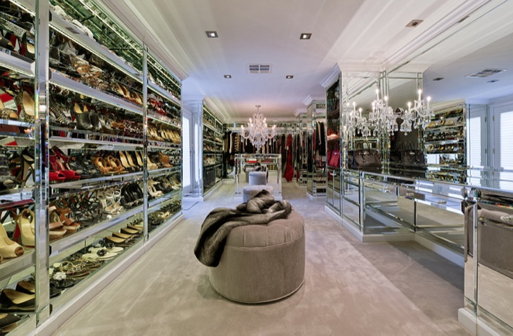 closets - Crystal chandelier mirrored wardrobe walk in closet  Shoe Closet  Each shoe shelf is lit up with LED lights, how spoiled can you get.