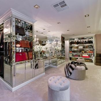 closets - Mirrored closet, mirrored vanity, mirrored vanity, crystal chandelier, mirror closet island, mirrored closet island, mirrored closet shelves, mirrored shoe shelves, mirrored shelves for shoes, mirrored cabinets, mirrored closet, glam closet, glamorous closet,