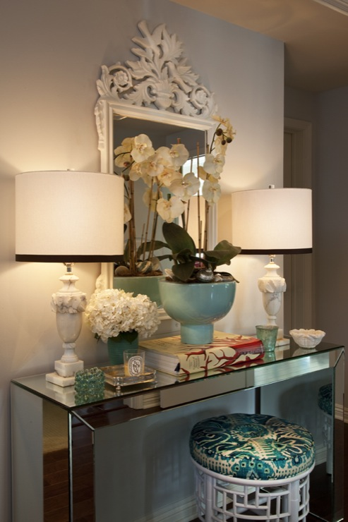 mirrored console table eclectic entrance foyer