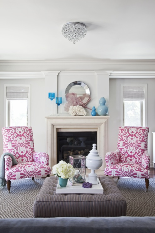 Pink Ikat Chairs, Contemporary, living room, Benjamin Moore Classic Gray, Armonia Decors