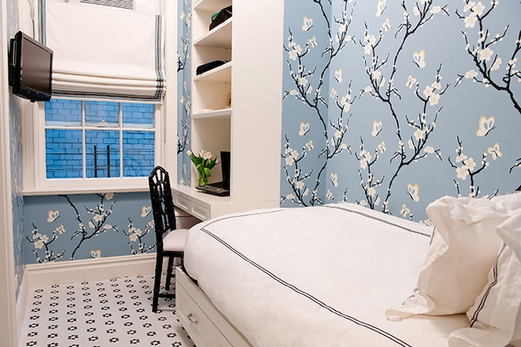 girl's rooms - blue sakura cherry blossom wallpaper white built-in desk shelves TV white romans shade blue ribbon trim white twin bed storage white twin hotel bedding blue stitching