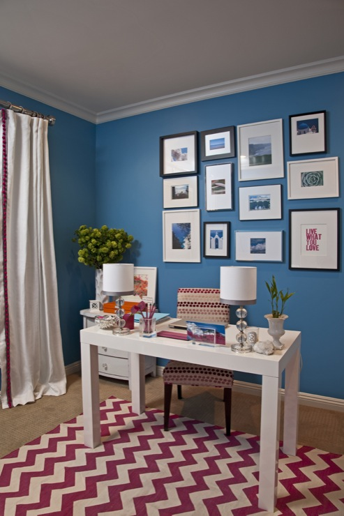 dens/libraries/offices - Benjamin Moore - Electric Blue - office parsons desk sofa chevron rug art lamps drapes  Armonia Decors  Emily Ruddo