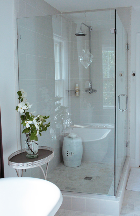 Rachel Bishop Designs - bathrooms - frameless glass shower, shower head, master bath shower, master bath showers, master bath shower design, master bath shower designs, shower stools,