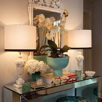 Armonia Decors - entrances/foyers - entry, foyer, mirrored parsons table, mirror, stool, alabaster lamps, mirrored table, mirrored console table, mirrored foyer table, alabaster table lamps, white baroque mirror, baroque mirror,