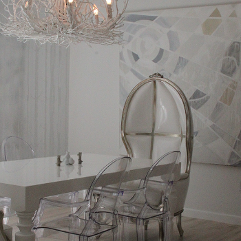Liv Chic Interior Design - dining rooms - Liv Chic, Hilary White, dining room, modern interior design, white dining room, canopy chair, silver leaf, dome chair,