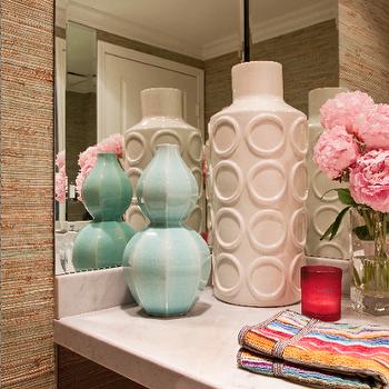 Armonia Decors - bathrooms - gourd vase, turquoise gourd vase, turquoise blue gourd vase, turquoise blue gourd vase,  Emily Ruddo - hall bath