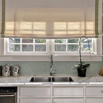 The Semi Designed Life - kitchens - grossgrain ribbon roman shade, grossgrain ribbon roman shades, penny tiles, penny tile backsplash, penny kitchen backsplash, green penny tiles, green penny backsplash, green penny tiled backsplash,